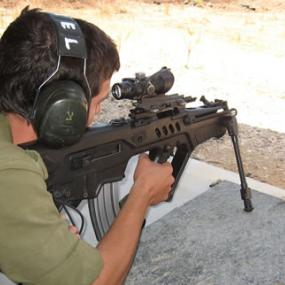 shooting from assault rifle
